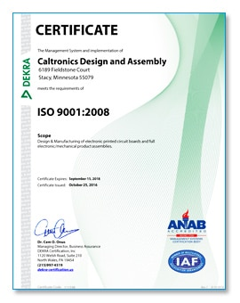 Caltronics ISO 9001:2008 Certificate Exp 9-15-2018