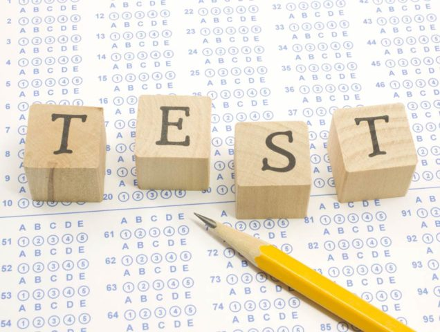 Test form with pencil and blocks spelling TEST